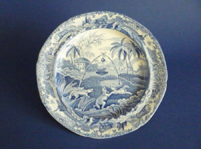 Rare Spode Indian Sporting Series 'Common Wolf Trap' Twiffler or Dessert Plate c1815 #1 (Sold)
